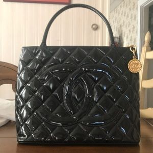 Chanel Quilted Black Patent leather